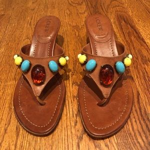 J. Crew leather jeweled sandals